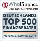 WhoFinance Siegel Top Berater in Deutschland April 2013